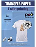 PPD DIN A4 Inkjet Transferpapier Transferfolie Bügelfolie für Tintenstrahldrucker und helle Textilien DIN A4 x 100 Blatt PPD-1-100