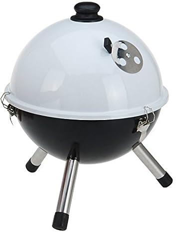 à poser au sol ou table top Grill Barbecue à charbon pour barbecue avec couvercle et pieds blanc