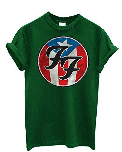 T-shirt Uomo Foo Fighters - USA Theme Maglietta 100% cotone LaMAGLIERIA,XL, Verde