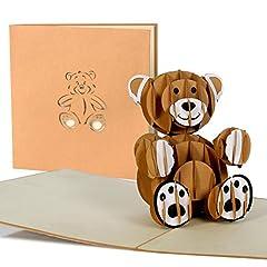 Idea Regalo - Biglietto di auguri nascita bimbo, idea regalo battesimo, comunione, invito compleanno bambino, orsetto 3d a comparsa, taglio al laser, fatto a mano, busta inclusa