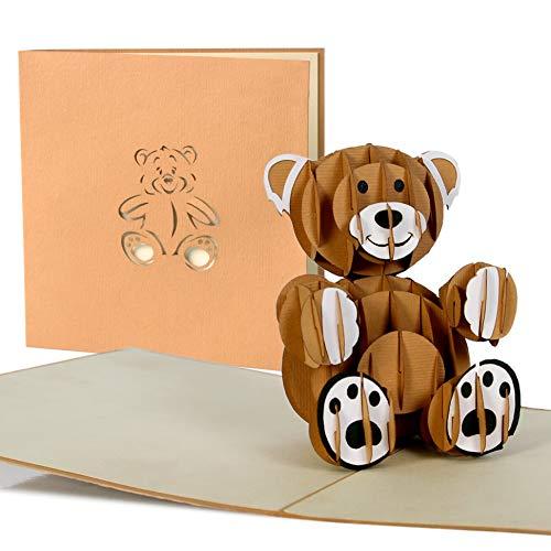 Geburtstagskarte Kinder mit süssem Teddy, Glückwunschkarte zum Geburtstag, Geburt Baby, Mädchen, Junge, Taufe, Kindergeburtstag Einladungskarte, 3D Pop-Up Karte, G10 (Taufe Karten)