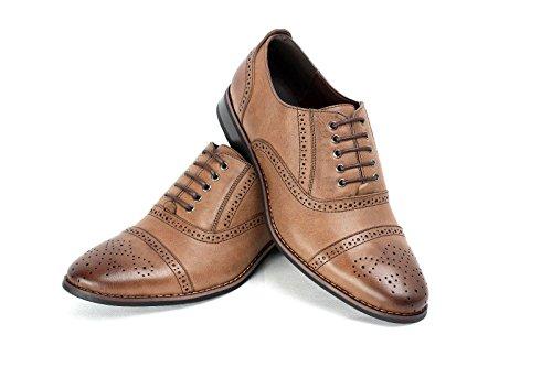 Pour Hommes Smart Officiel À Lacets Décontracté Faux Cuir Chaussures Brogues Café