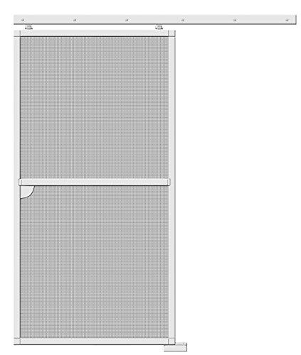 Schellenberg 70070 Insektenschutz Schiebetür, weiß/Fliegengitter für die Tür zum Schieben, barrierefrei/Alu-Profile und Fiberglas-Gewebe, max. 120 x 240 cm - kürzbar/Außen einfach zu montieren