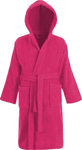 Kids 100% Cotton Terry Towelling Hooded Shawl Collar Bathrobe (AGE 12-13, Pink)