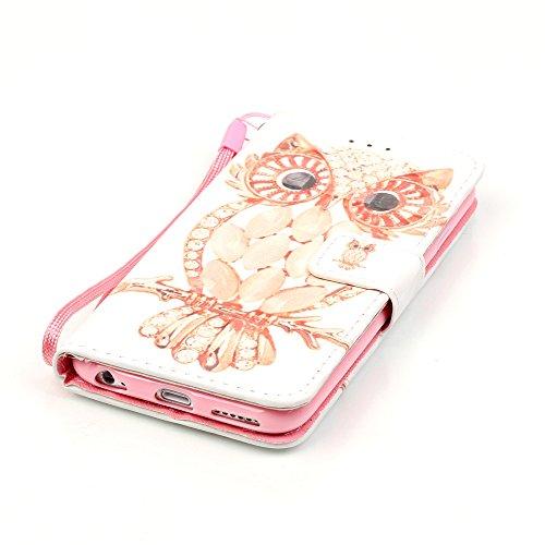 iPhone 5/5S/SE Hülle, PU Leder Hülle für Ledertasche Schutzhülle Case[Stand Feature] Flip Case Cover Etui mit Karte Slots Hülle für Apple iPhone 5 5S SE Eule