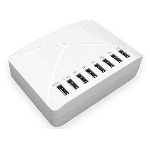 COOVOO Caricabatterie USB, 50W 5V 10A, 8 Porte USB Caricatore
