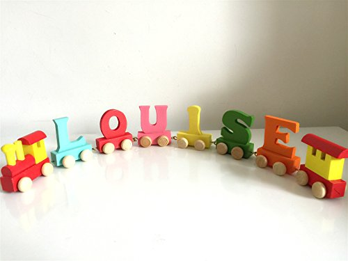 Personalized Colorful Wooden Train Alphabet Letter 6 letters Name by toys.funworld