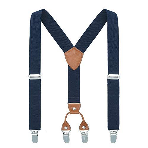 Kinder Klammern Clip auf Hosenträger - Getreide Leder Elastisch Einstellbar Mit 4 Clips Y Form Hosenträger(Navy blau)