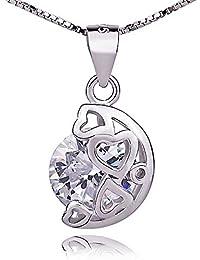d43ddf846831 dames en argent sterling incrustés de diamants collier pendentif lune  darstellt mon cœur .pour femmes