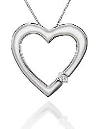Diamant Prinzessschliff Damen-Anhänger Herz 14 Kt Weißgold