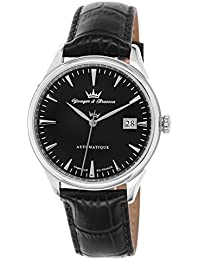 Yonger & Bresson  - Reloj automático para hombre, correa de cuero color negro