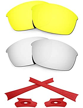HKUCO For Oakley Flak Jacket 24K Gold/Silver Polarized Replacement Lenses And Red Earsocks Rubber Kit