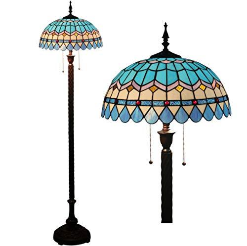 GDLight Mediterrane Stehlampe Tiffany-Stil Blaue Glasmalerei 2-Licht-Lesestehlampe mit Zugkette für Wohnzimmer, 63 Zoll hoch -