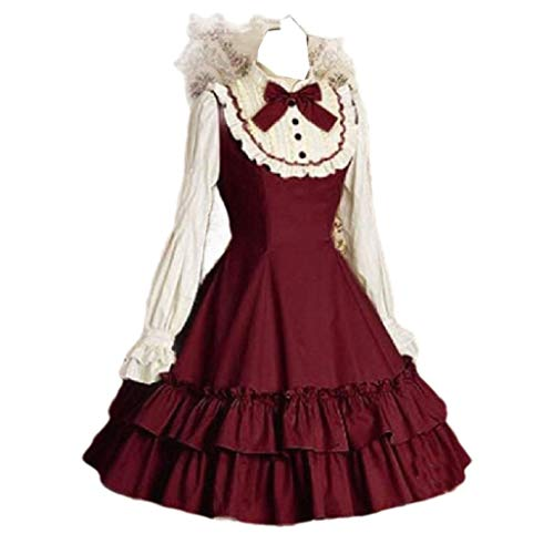 65522417981b CuteRose Women's Swing Party Trim-Fit Medieval Cosplay Cocktail Party Dress  Wine Red S