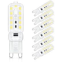 SHINE HAI bombillas LED G9 de 5W equivalentes a Lámparas halógenas de 40W,Blanco Frío 6500K,450LM,AC 220-240V,22x SMD 2835,No-Regulable,Pack de 6