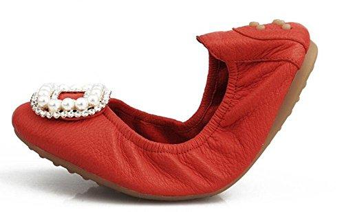 SHINIK Frauen falten bis Ballett Pumps Leder Rundhals flachen Mund flachen Fahren Schuhe Red
