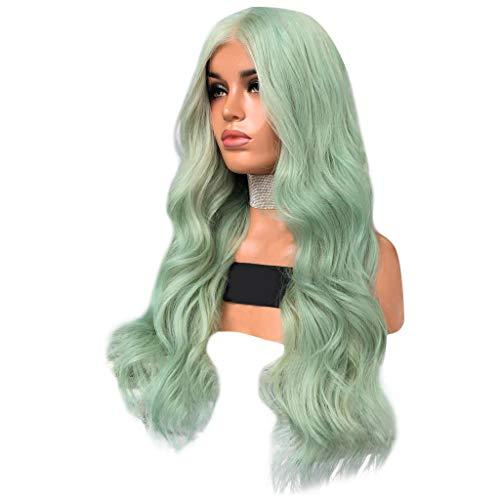 JiaMeng Mode Synthetische Lange Welle Grüne Farbe Lockiges Haar Perücke Natürliche Haarperücken Dye Farbe ist in große Wellenvolumen unterteilt (65cm, Grün)