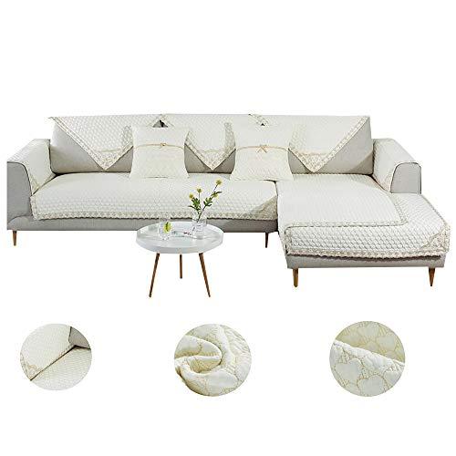 Umkehrbare Couch-Abdeckung,1 Stück Baumwolle Gesteppte Möbel Protektor Sofa Slipcover Für Haustier Kinder1 2 3 4 Kissen Couch-c Weiß 110x110cm(43x43inch)