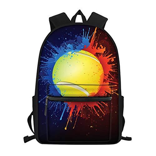 Coloranimal Schulrucksack für Kinder Laptop Computer Büchertaschen mit starken, verstellbaren Riemen Mehrfarbig Tennis Ball 28.5(L) cmx17(W) cmx40(H) cm -