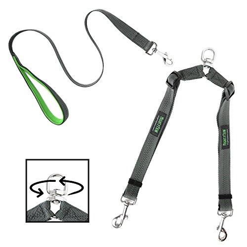 Mighty Paw Hundeleine mit 2 Leinen ist verstellbar und verheddert Nicht. Passen Sie die Länge jeder Leine für bequemes Laufen an. Für kleine und große Hunde geeignet