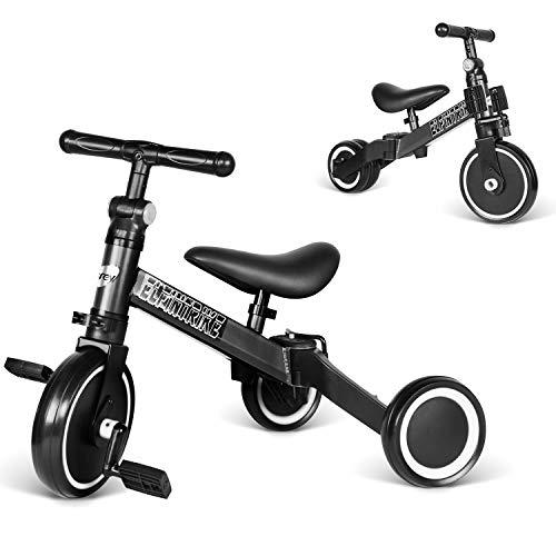 besrey Tricicli 3 in 1 Triciclo per Bambini / Triciclo Senza Pedali/ Bicicletta Senza Pedali - Black