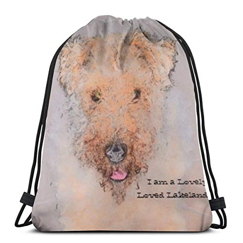 Lakeland Hat (Bag hat Dogs Lakeland Terrier Happy Cute 3D Print Drawstring Backpack Rucksack Shoulder Gym for Adult 16.9