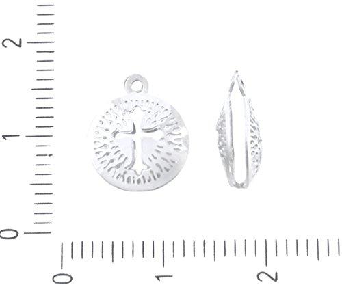 4pcs Silber-Edelstahl nickelfrei Religiöse Kreuz Medaillon Laser Geschnitten Flach 3D Hohlen Charme böhmischen Metall Erkenntnisse 10mm