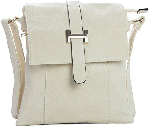Big Handbag Shop mittelgroße Damen Schultertasche Umhängetasche Cross Body mit mehreren Taschen Cremefarben