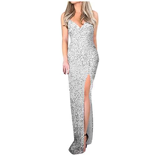 Xuthuly Frauen Sexy Tiefem V-Ausschnitt Kalte Schulter High Split Nachtclub Pailletten Sling Kleid Damen Elegante Reine Farbe Slim Fit Party Maxi Kleid -