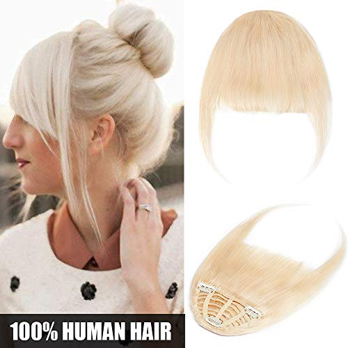 Extension clip capelli veri frangia fascia unica #60 biondo platino - frangetta hair bang 100% remy human hair lisci umani one piece fringe naturale 25g