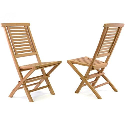 """Divero Divero 2er Set Klappstühle """"Hantown"""" Teak Holz Gartenstuhl massiv verstärkt klappbar 42 x 98 x 43 cm"""