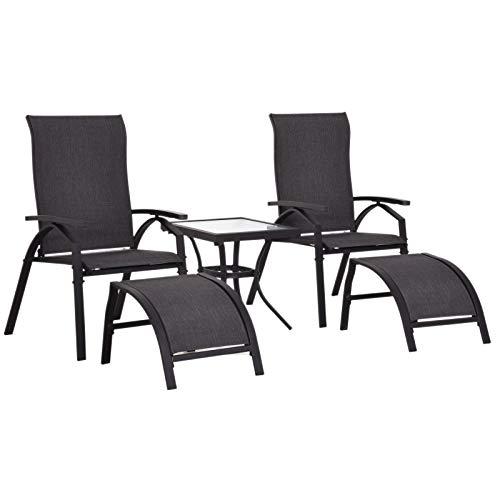 Outsunny 5-TLG. Gartengarnitur Gartensitzgruppe Gartentischset Gartenliege Gartenmöbel Metall + Textilene Grau 2 x Sessel 2 x Hocker 1 x Tisch