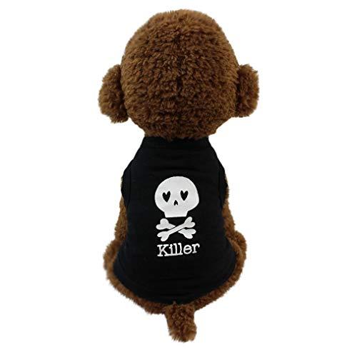 Smniao Sommer Haustier Hund Kleidung Hund Weste Killer Gedruckt Kleiden T-Shirt Kostüme für Kleine Hund Chihuahua Welpen Katze (S, Schwarz-B) (Kleines Haustier Kostüm)