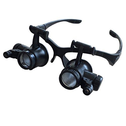 acher Vergrößerungs-Glaser Lupenbrille Brillen-Lupe Vergrößerung mit 2 LED-Leuchten ()