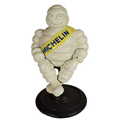 Estatua de hombre Michelin sentado de DrillMan, de hierro fundido, con soporte
