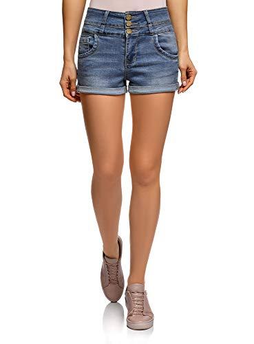 Oodji ultra donna shorts in jeans con vita alta, blu, w25 / it 38 / eu 25