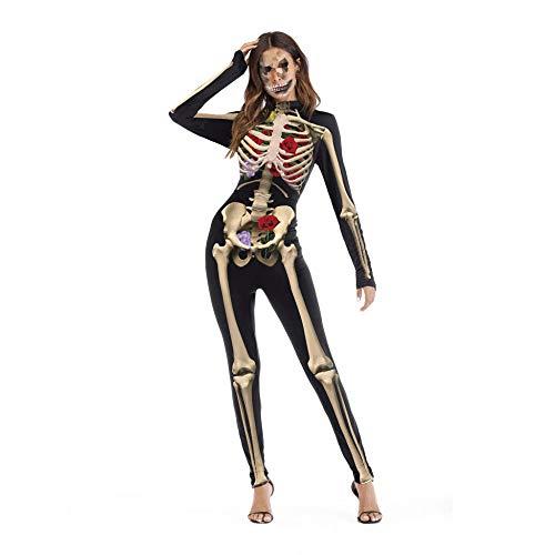 POIUYT Film Cosplay Strumpfhosen Zeigen Party Abendkleid Overall Damen Erwachsenen Kostüm Zentai 3D Print Rollenspiel Skelett Rose Body Tights,S/M