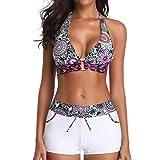 iYmitz Damen StripeSwimwear Siamese Neckholder Bikini Frauen Set Push-Up Strandbekleidung Einteiliger Badeanzug (Weiß,EU-32/CN-S)