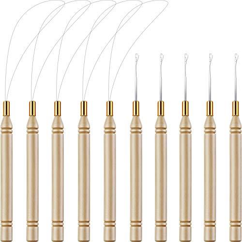 10 Packung Holz Haarverlängerung Schleife Nadel Einfädler Ziehen Haken Werkzeug und Perle Gerät Werkzeug für Haar oder Feder Verlängerungen