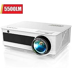Vidéoprojecteur, YABER Projecteur 5500 Lumens Full HD 1920 x 1080P Natif Rétroprojecteur Soutien 4K, avec Fonction Zoom X/Y, LED Compatible Chromecast /USB /VGA /HDMI /AV