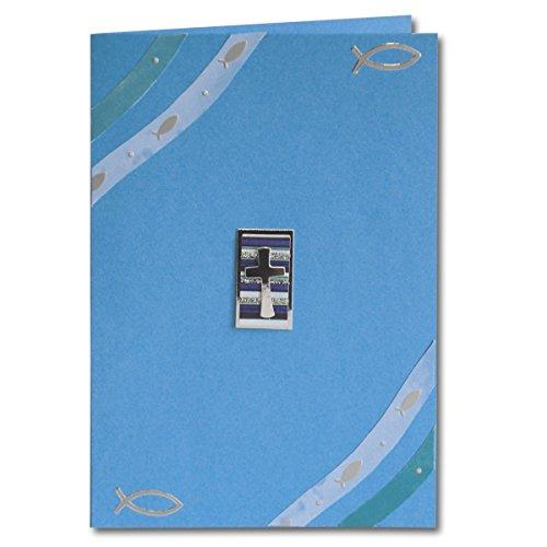 Artoz Kreativ Bastel-Set Kommunion/Konfirmation/Firmung | Set für 5 Karten | Farbe Blau | mit Faltkarten, 3D Sticker, Bastelpapier & Umschläge | Ideal für Einladungskarten und Danksagungen