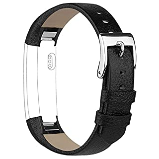 Vancle Leather Band for Fitbit Alta, Alta Accessory Replacement Band (Black)