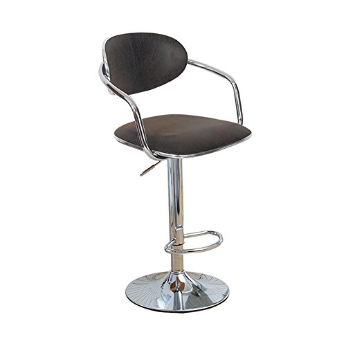 Mena Uk Retor-Kunstleder-Arbeits-Schemel mit den Armen und Rücken-justierbarer Gasheber, Stuhl-360 ° Drehstuhl ( Farbe : Retor Black , größe : 38.5cm )