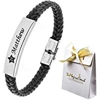 TMT® Personalised Men's Leather Bracelet Adjustable Size For Dad ★ ID Identity ★ Birthday ★ Name Engraved Black ★ Best Men