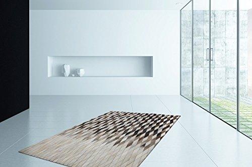 Leder Handgefertigt Teppich Kuhfell Patchwork Teppiche Weich Grau SALE, Größe:80cm x 150cm