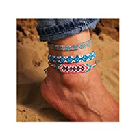 Edary Boho Anklet Colorful Woven Anklets Bracelet Beach Foot Chain Jewelry Accessories for Women and Girls(3PCS/Set)