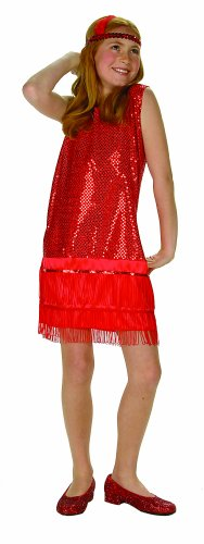 Sequin Flapper,Red,Large 12-14 by RG - Sequin Flapper Kind Kostüm