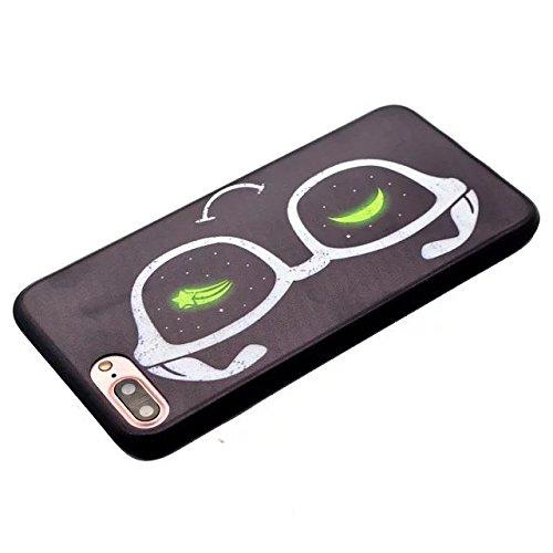 Etsue Silikon Schutz HandyHülle für iPhone 7 Plus (5.5 Zoll) 2016 TPU Hülle in Schwarz, Einzigartig Muster Silikon Case Handytasche Ultradünnen Weiche Kratzfeste Handyhülle Zurück Hülle Bumper Etui Sc Brille