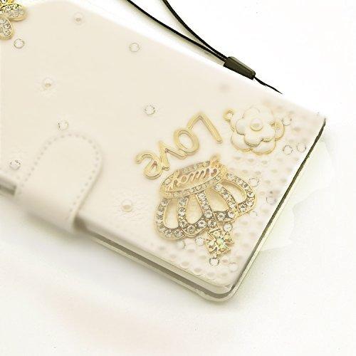 Étui iPhone 8 / iPhone 7 4.7 Pouces, Vandot 2 en 1 Luxe Bling Cristal Diamant Coque 3D Motif Design Pearl Couverture PU Cuir Case Cover de Protection Shock Absorption Bumper avec Porte Carte Wallet Ra Diamant 02