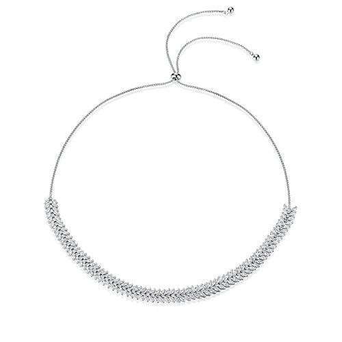 Knsam collana donna san valentino a forma di conchiglia in argento con marquise tagliate regolabile